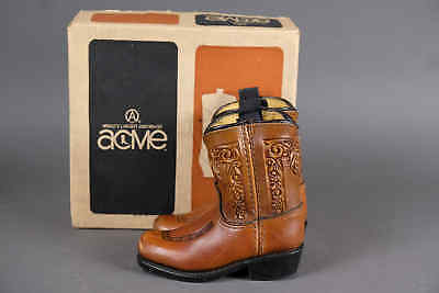 Adorable Vtg 60s ACME Toddler Kids Tooled Leather Cowboy Western Boots & Box 5D
