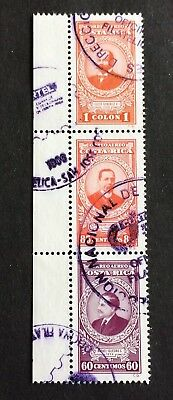 stripe of 3 top old canceled stamps Costa Rica