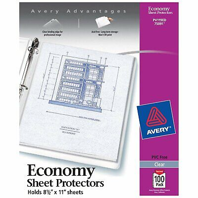"""Avery Economy Clear Sheet Protectors, 8.5"""" x 11"""", Acid-Free, Archival Safe, To.."""