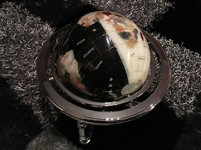 MEDIUM 220mm WHITE/BL GEMSTONE LAPIS GLOBE SEMI PRECIOUS STONES ON BRASS STAND
