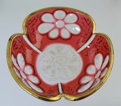 ANTIQUE MOSER/BOHEMIAN CRANBERRY CUT TO CLEAR LOBED BOWL w/GOLD DECOR
