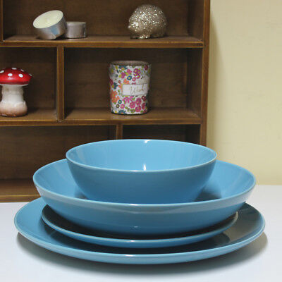 4pcs Dinnerware Set Round Turquoise Ceramic Serving Plate Bowl Dining Tableware
