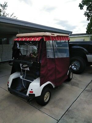 Sunbrella  Ezgo Rxv Black Cherry Golf Cart Enclosure Track Style