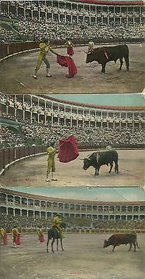 Postcards postales de 1913 de corridas de toros 3 scans ver descripcion color