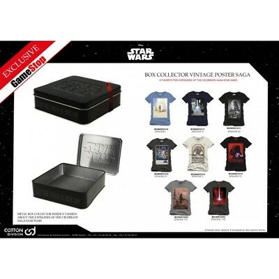 STAR WARS Coffret Métal 8 T-Shirts Edition Collector Limitée - Taille L - NEUF