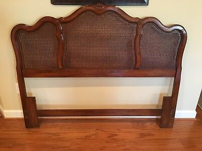 Vintage Thomasville Solid Wood Queen/Full Caned Headboard