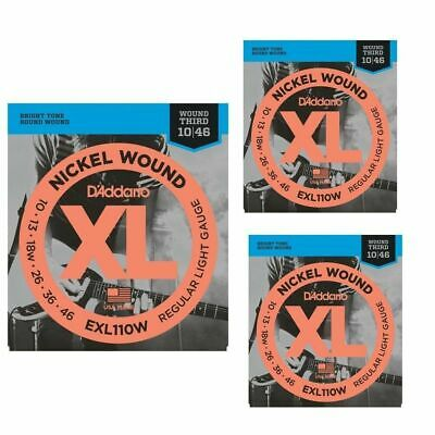 3 sets D'Addario  EXL110W Nickel Wound Light ,wound 3rd Electric Strings 10 - 46