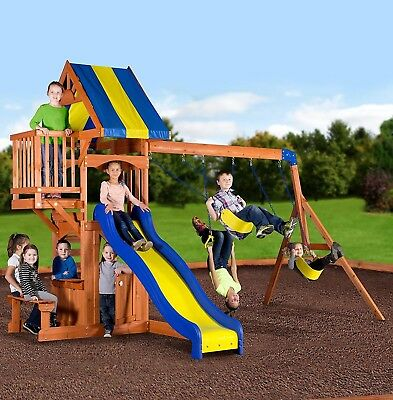 Backyard Outdoor Play Set Wooden Kids Playground Swing Slide Fort Jungle Gym New