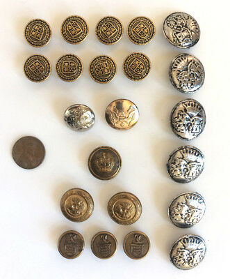 Antique Metal Crest Button Livery LOT vintage Brass Silver tone 22 total RARE