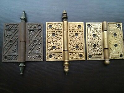 Antique Door Hinges Lot Ornate Brass Cast Iron Victorian Eastlake 1800s Salvage