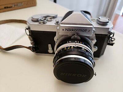 Classic Nikon Nikkormat Type F 35MM Camera with Nikkor-S F=50mm Lens + Flash