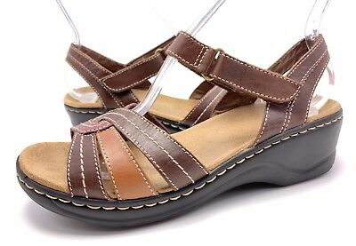 94001587ed2 Clarks Womens 9M Brown Multi Leather Ankle Strap Lightweight Wedge Sandals