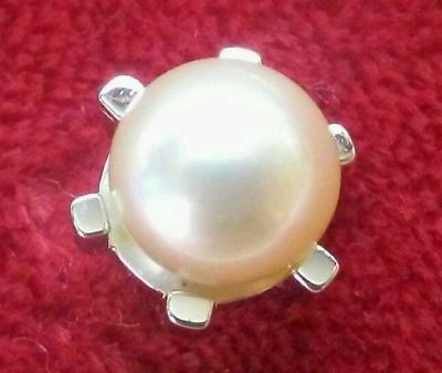 Antique Cultured Pearl and silver studded pin