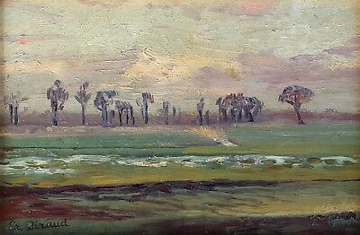 French Vintage Oil Painting Landscape Signed