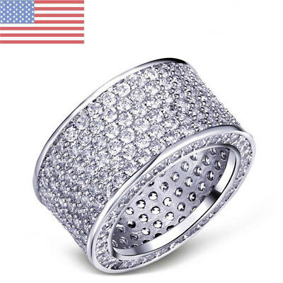 18K White Gold Silver ETERNITY Wedding MICROPAVE CZ Iced Out Mens Ring Band 5-10