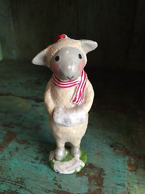 Lamb Sheep w/ Scarf Ornament Christmas Holiday Gift Vintage Style New