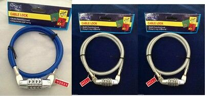 3x Multi-Function Lock Bike Bicycle Cable Lock 4 digit Security Combination Code