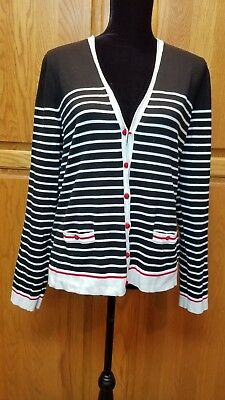 Jones New York Signature Black White Red Striped Cardigan Sweater Size XL 28f0534f8