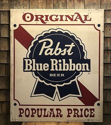 RARE Vintage PABST Blue Ribon Beer LARGE Advertising Sign Man Cave Bar 51x42