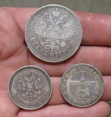 Russia - (3) Silver Coins (1897-1921)