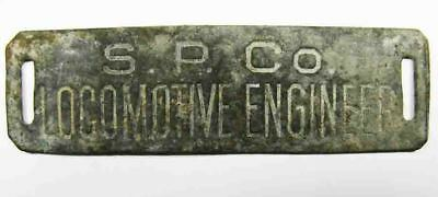 """Vntage Southern Pacific Metal Tag Saying """"S.P. Co. LOCOMOTIVE ENGINEER"""""""
