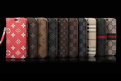 LV88 Leather Wallet Case Cover For iPhone 7 8 Plus X XS Max XR Samsung S8 S9Plus