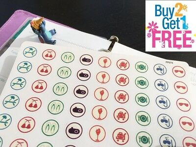 PP074 -- Round Vacation Icons Life Planner Stickers for Erin Condren (54 pcs)