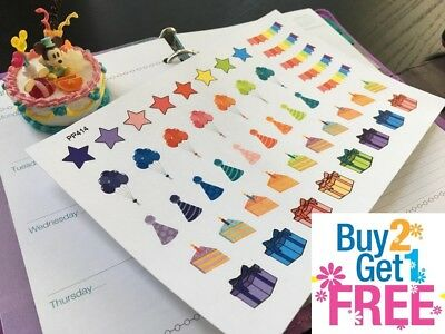 PP414 -- Birthday Party Icons Life Planner Stickers for Erin Condren (47pcs)