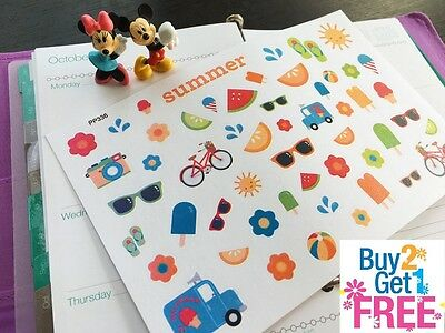 PP336 -- Summer Time Icons Planner Stickers for Erin Condren (53pcs)