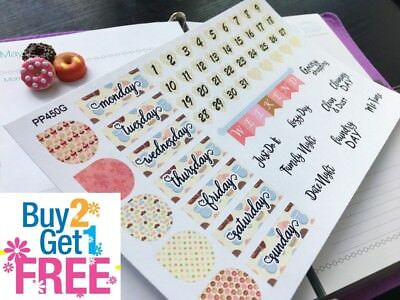 PP450G --  Donuts Macaroons Date Covers Planner Stickers for Erin Condren 58pcs