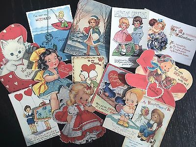 BB77-- Lot of 13 Vintage Valentine's Day Greeting Card DIE CUTS for CARD MAKING
