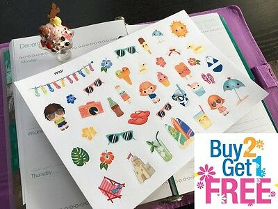 PP337 -- Kawaii Summer Time Icons Planner Stickers for Erin Condren (39pcs)
