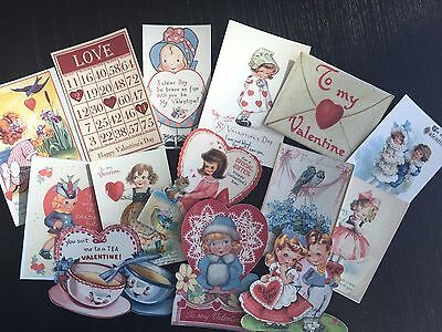 BB76-- Lot of 14 Vintage Valentine's Day Greeting Card DIE CUTS for CARD MAKING