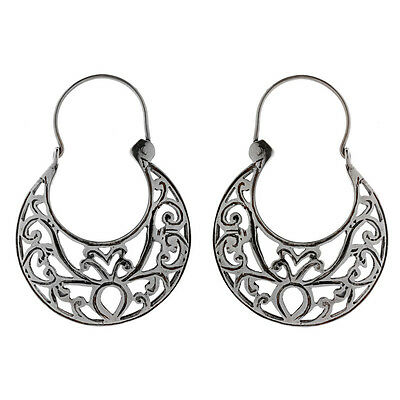 Savati ~ Sterling Silver Byzantine Crescent Earrings