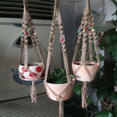 Vintage Macrame Plant Hanger Flower Pot Garden Holder Legs Hanging Ropes Basket