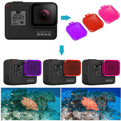 Neewer 3pcs Red/Pink/Magenta Photography Diving Filter Kit for GoPro Hero 7 6 5