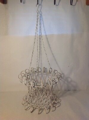 Vintage White Twisted Wire Hanging Basket Cottage Shabby Chic Garden Decor