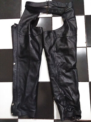 Black Genuine Leather Motorcycle Chaps Pants Mens W 38-40 X 30