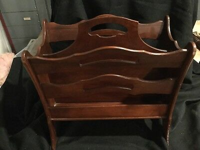 Beautiful  Antique Mahogany Magazine / Newspaper Rack