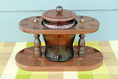 Vtg Wooden Tobacco Pipe Stand With *Dun-Rite* Brown Glass Humidor, Holds 8 Pipes