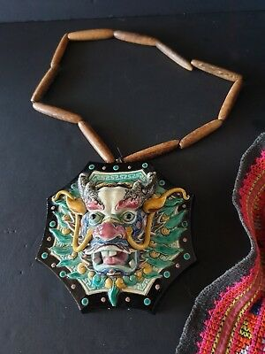 Old Chinese Porcelain Dragon on Wooden Beaded Cord …beautiful & unique...
