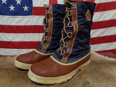 605d84add62 VINTAGE KAUFMAN SNOW Boots Mens 12 Leather Laces Blue Nylon Canada Made  Brown