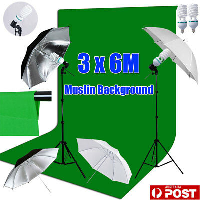 Studio Soft Umbrella Continuous Lighting 3x6M Green Muslin Backdrop Background