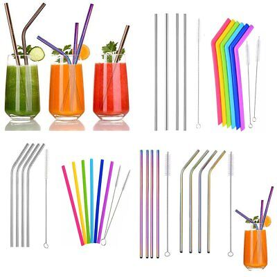 Reusable Rainbow Stainless Steel Metal Drinking Straw Straws & Cleaning Brush GU