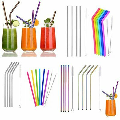 Reusable Rainbow Stainless Steel Metal Drinking Straw Straws & Cleaning Brush GH