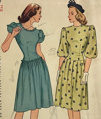 1950s Simplicity Vintage Sewing Pattern dress 1690 Bust 30