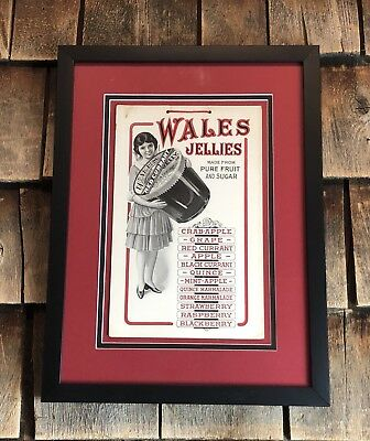 Vintage 1920's WALES JELLIES Fruit Jar General Country Store Sign Framed 15x12