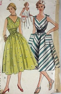 1950s Simplicity Vintage Sewing Pattern Dress 4309 Bust 30  See Note