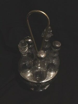 Antique Victorian Silver-plate Caster Revolving Condiment 6 Crystal Bottles