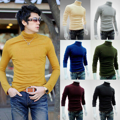 Mens Cotton Turtleneck Polo Pullover Sweater Stretch Jumper 6 Colors USA STOCK